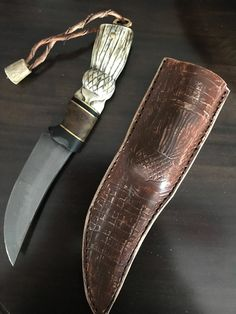 Fedoriaki damascus blade, Scottish flavoured antler  handle and sheath