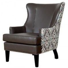 TOV Furniture Soho Leather Ikat Wing Chair