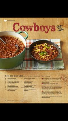 """""""Cowboys vs Cowgirls"""" from The Pioneer Woman, Fall Read it on the Texture app-unlimited access to top magazines. Cowboys vs Cowgirls from The Pioneer Woman, Fall Read it on the Texture app-unlimited access to top magazines. The Pioneer Woman, Pioneer Woman Chili, Pioneer Women, Devilled Eggs Recipe Best, Deviled Eggs Recipe, Clean Eating Chili, Easy Stovetop Chili Recipe, Vegetarian Chili Easy, Cowboys Vs"""