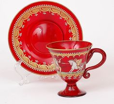 Hand Painted Grecian Warrior Ruby Red Glass #Teacup - Inspriration for coloring with Aurora Art Supplies colored pencils at http://aurora-artsupplies.com