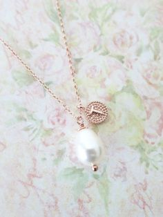 Rose Gold Personalised Letter Pearl Teardrop Necklace - gifts for her, bridal gifts, drop, dangle, pink gold weddings, bridesmaid necklace, by ColorMeMissy
