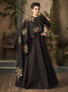 Buy Deep Brown Satin Silk Victorian Gown with One Sided Ruffled Cape - Pakistani Dress Design, Pakistani Dresses, Indian Dresses, Satin Gown, Silk Gown, Desi Wedding Dresses, Bridal Dresses, Baby Dresses, Designer Gowns