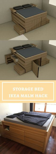 This is one heck of an IKEA hack. Stefan made a storage bed, wait it's a bed with massive amounts of storage bed out of 2 MALM bed, 4 MALM chest of drawers, 2 nightstands and 1 headboard. First, he designed the bed in and this was his initial plan. Ikea Bedroom Storage, Diy Storage Bed, Storage Hacks, Ikea Storage Solutions, Best Storage Beds, Bedding Storage, Loft Storage, Storage Design, Storage Room