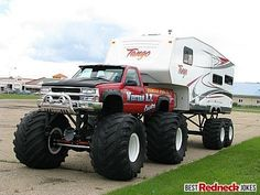 Awesome Redneck monster truck and trailer. You know you're a redneck if you need a ladder to get into your trailer.