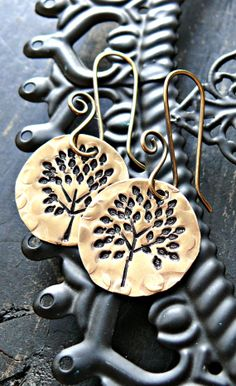 Hand Stamped Tree Earrings Tree Earrings by yourcharmedlife, $30.00
