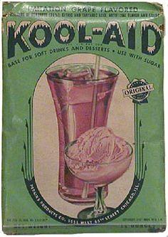 Kool-Aid, Perkins Products, Nebraska Invented in Hastings Nebraska in Vintage Packaging, Vintage Labels, Vintage Ads, Vintage Food, Vintage Stuff, Old Advertisements, Advertising, Grape Kool Aid, Old Signs
