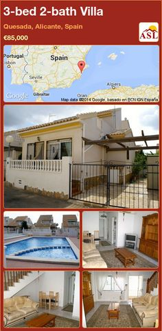 Villa for Sale in Off Aeropuerto, Quesada, Alicante, Spain with 3 bedrooms, 2 bathrooms - A Spanish Life Valencia, Portugal, Open Staircase, Alicante Spain, Spanish House, Sitting Area, Ground Floor, Terrace, Madrid