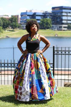 R.I.O.T.  Multi Ankara Fabric Pleated African Skirt by celestecapricecandle on Etsy