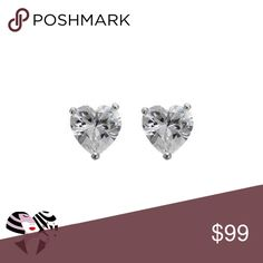 CZ & Sterling Silver Heart Solitaire Stud Earrings PRODUCT DESCRIPTION:  Set in blushing rhodium-plated sterling silver, these heart-cut cubic zirconia crystals lend chic sparkle to ensembles.  6 mm W Rhodium-plated sterling silver / cubic zirconia Imported Janis Boutique  Jewelry Earrings