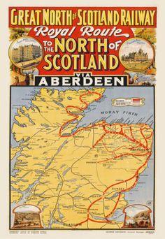 Large Canvas Art, Canvas Art Prints, Wall Prints, Vintage Maps, Vintage Travel Posters, Scotland Map, Scotland Travel, Map Of Britain, Train Map
