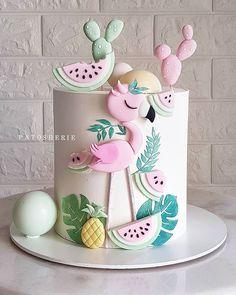 Creative Birthday Cakes, Cute Birthday Cakes, Flamingo Cake, Flamingo Birthday, Cake Blog, Sweet Cakes, Fondant Cakes, Mini Cakes, Themed Cakes