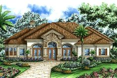 The unique front elevation of the sterling oaks ii house plan is a unique transitional mediterranean style offering arched transoms over multiple sets of Tuscan House Plans, Ranch House Plans, House Floor Plans, Mediterranean House Plans, Mediterranean Design, Building Structure, Building Design, Florida House Plans, Houses
