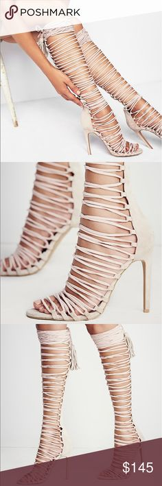 Jeffrey Campbell Lace Up Heels Knee high suede lace-up wrap around heeled sandals. The best way to spice up date night with the perfect dress or just add some pizzazz to your everyday. Beige color   *By Jeffrey Campbell *Suede *Import Jeffrey Campbell Shoes Heels
