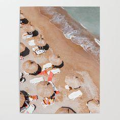 Poster Prints, Framed Prints, Posters, Beach Umbrella, Sea Art, Beach Print, Diy Frame, Garlic Bread, Clothespins