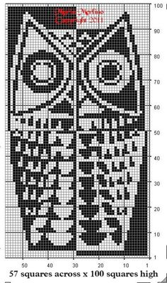 Mordern Owl Curtain Wall Panel Chart in Filet Crochet Stitch Free Pattern MoEZ