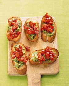 Entertaining can be easy -- and good for you. These bites with lycopene-rich tomatoes and heart-healthy avocados are a virtuous and delectable cocktail party offering.