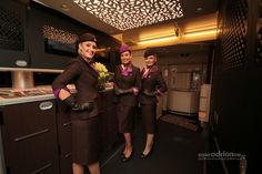 Etihad Airways Cabin Crew in new uniforms on board its new Airbus A380 (A6-APA)