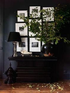 Art Collage - Console Table - Dynamic Decor - Dark Interior - Masculine Aesthetic More