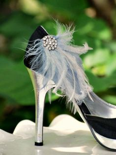 Shoe Clips Grey & Rhinestones Crystals / Pearls. Stormy Gray Couture, Bride Bridesmaid Engagement Gift. Ostrich Goose. Statement Date Day by sofisticata - Found on HeartThis.com @HeartThis | See item http://www.heartthis.com/product/205522838717985859?cid=pinterest