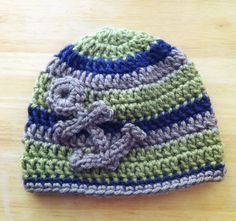 Crochet striped hat with anchor accent by craftedingrace on Etsy, $15.00