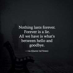 Quotes About EX : Nothing lasts forever. Forever is a lie. All we have is whats between hello and