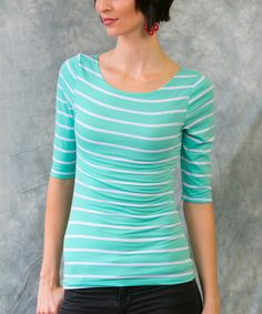 Another great find on #zulily! Mint & White Stripe Top - Women by Sawyer Cove #zulilyfinds