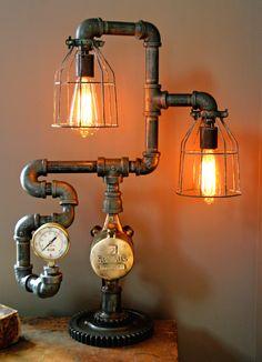 Steampunk Steam Gauge Plumbing Lamp - SOLD
