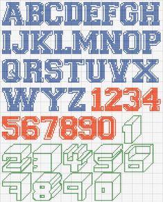 Schema punto croce Alfabeto misto Cross Stitch Alphabet Patterns, Embroidery Alphabet, Cross Stitch Designs, Stitch Patterns, Cross Stitch Numbers, Cross Stitch Letters, Plastic Canvas Letters, Simple Cross Stitch, Alpha Patterns