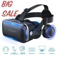 Virtual Reality Headset with Stereo Headphone for iPhone Android Smartphones