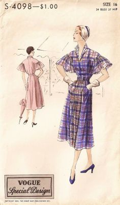 Vogue S-4098 1950 Featured in Vogue Pattern Book, June-July 1950