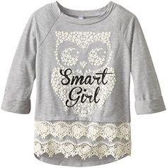 3ffb105782 Beautees Big Girls  Smart Girl Top with Crochet Trim Trim Reviews