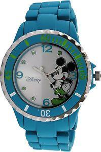 Disney Mickey Mouse Women's MK2117 Silver Dial Turquoise Bracelet Analog Watch