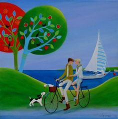 """Saatchi Art Artist Iwona Lifsches; Painting, """"Let's Buy That Boat, SOLD"""" #art"""