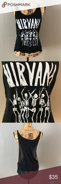 Nirvana Muscle Tank Almost new! Worn 2-3 times. Sheer black Muscle Tank with white nirvana and skeletons decal on front. Not sure exactly what size but I'm a true medium and it fits me. Not UO, tagged for exposure. Great quality top! Reasonable offers welcome thru the offer button! Urban Outfitters Tops Tank Tops