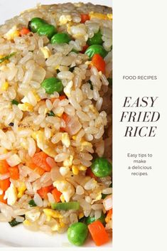 fried rice recipe vegetable, cauliflower f Rice Breakfast Recipes, Vegetarian Rice Recipes, Healthy Asian Recipes, Asian Dinner Recipes, Brown Rice Recipes, Easy Rice Recipes, Rice Recipes For Dinner, Chinese Recipes, Chinese Food
