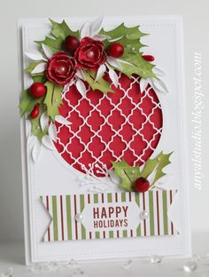 pretty die cut ornament with handmade paper holly berries