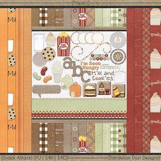Digital Scrapbooking Snack Attack Kit #DandelionDustDesigns #DigitalScrapbooking