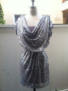 NWOT Aiden Mattox Above Knee Length Silver Sequin Cowlneck Cocktail Dress 0 #aidenmattox #Shift #Cocktail $40