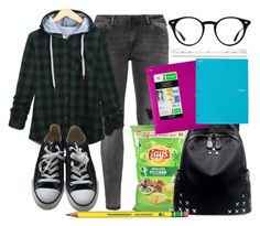 """""""Normal school day"""" by carogamer ❤ liked on Polyvore featuring Zizzi, Converse, Chicnova Fashion and Ray-Ban"""
