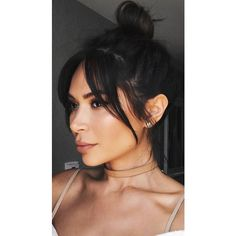 Marianna Hewitt bangs hair cut messy bun fringe Bardot modern ❤ liked on Polyvore featuring beauty products, haircare, hair styling tools and hair