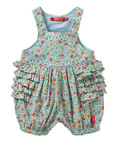 Look at this Oilily Blue Floral Oeta Romper - Infant by Oilily Sewing Baby Clothes, Doll Clothes, Girlie Clothes, Fashion Kids, Girl Onsies, Sewing For Kids, Sewing Ideas, My Little Girl, Dress Me Up