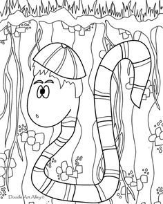 This is a free lost worm coloring page. Its a printable