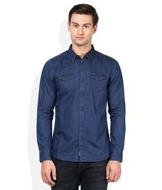 Being Human Blue Solids Slim Fit Shirt - http://weddingcollections.co.in/product/human-blue-solids-slim-fit-shirt/