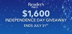 Reader's Digest $1,600 Independence Day Giveaway (4 winners) – Ends July 31st #sweepstakes https://www.goldengoosegiveaways.com/readers-digest-1600-independence-day-giveaway-4-winners-ends-july-31st?utm_content=buffer747a4&utm_medium=social&utm_source=pinterest.com&utm_campaign=buffer