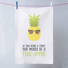 So funny, love a good pun! 'Fine Apple' Pineapple Pun Tea Towel, perfect gift…