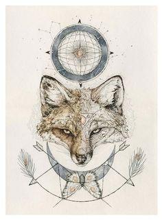 Fox Print 11 x14 inch reproduction or original by NestandBurrow