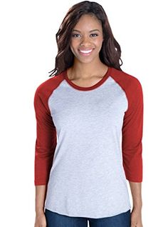 LAT Apparel Ladies 100% Cotton Baseball Jersey Tee, Heather/Red, Medium   Special Offer: $7.99      488 Reviews Basic and beautiful meet fashion in these ladies raglan baseball tees, featuring a variety of colors. These short sleeve t-shirts for women feature a slightly longer length...