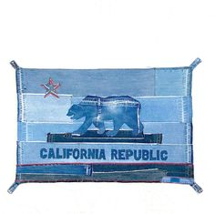California State Flag upcycled from denim jeans
