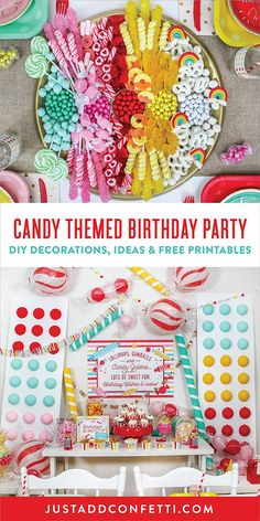 Sweetness overload! This Candy Themed Birthday Party is full of so much fun eye candy! Pull this party together in no time with a full pack of FREE party printables. I've also included an easy tutorial to make a Candy Charcuterie Board and also Large Candy DIY Decorations.