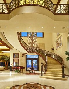 Entry - Home and Garden Design Idea's - You'd have to have a huge house and I don't know that I'd have the patience to go up that many stairs but it looks cool